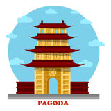 Religious pagoda or tiered tower with eaves Stock Photos