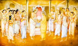 Religious painting in a Buddhist temple. Painting The Arahath Kema presented King Brahmadatta of Kalinga with the Sacred Tooth Relic for veneration . KANDY, SRI Stock Photo