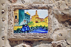 Religious painting built-in the wall of a church Royalty Free Stock Photos
