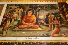 Religious Paintings Inside of Buddhist Temple in Mirissa Sri Lan Royalty Free Stock Photography
