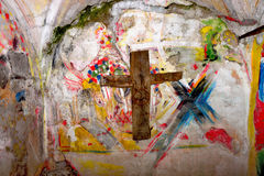 Paintings in little chapel Royalty Free Stock Photo