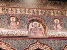 Religious paintings in Stavropoleos monastery in Bucharest Romania. royalty free stock photo
