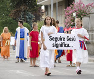 Religious parade in Italy. The feast of St.Giustin Royalty Free Stock Images