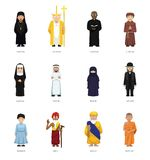 Religious People Cute Cartoon Characters Set Stock Photo