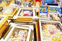 Religious photo frames. Indian religious photo frames on display during diwali festival in india stock photo