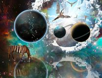 Religious planetary surrealism. Angels comes from another dimension. Exo planets. Striped horse. Human elements were created with 3D software and are not from Royalty Free Stock Image