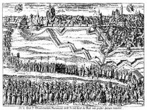 Religious procession in Augsburg, XVII century. Augsburg, Germany city view in XVII century on occasion of a  religious cortege accompanying the sacrament Stock Photo