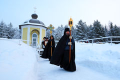 Religious procession on a Christian holiday of the Epiphany. Stock Photography