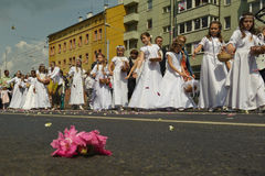RELIGIOUS PROCESSION AT CORPUS CHRISTI DAY. Wroclaw/Poland at June 7, 2012 stock photography