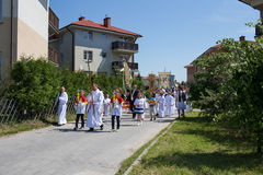 Religious procession at Corpus Christi Day. Royalty Free Stock Photo