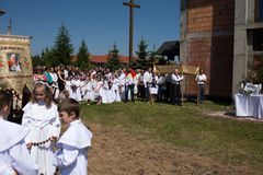 Religious procession at Corpus Christi Day. Royalty Free Stock Images