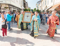 Religious procession with the icon of the Virgin It is worthy to eat in the center of Pomorie in Bulgaria Stock Photography