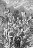 Religious procession in the mountains, old print stock illustration
