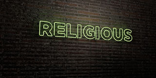RELIGIOUS -Realistic Neon Sign on Brick Wall background - 3D rendered royalty free stock image Royalty Free Stock Images