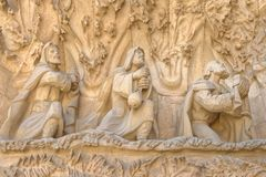 Details of the Sagrada Familia in Barcelona, Spain. Religious refief images taken of the outside of the sagrada familia basilica, barcelona, spain stock photos