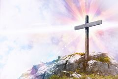 Religious representation with cross on top of a hill stock photo