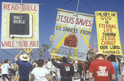 Religious right marchers holding signs, Santa Monica, California Royalty Free Stock Photos