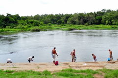 Religious rites by the bank of Kaveri river! Royalty Free Stock Photos