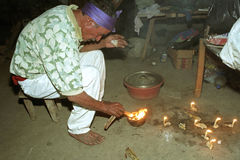 Religious ritual of Guatemalan Ixil Indian priest Stock Photography
