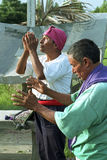 Religious ritual of Guatemalan Ixil Indian priests. Guatemala, Retalhuleu Department, El Triunfo Village: Mixture of Traditional Mayan Religion and Catholicism royalty free stock images