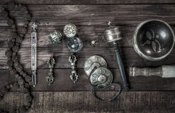 Religious ritual objects for meditations Stock Photo
