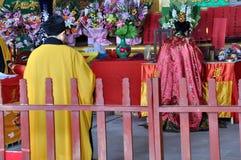 Religious Rituals. Taoist priests were making religious rituals at a Taoist temple in Lingyun Mountain, Nanchong, Sichuan, China stock photos