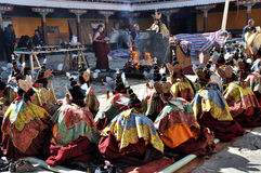 Religious Rituals. Were held at Drepung Monastery which is one of the great three Gelukpa university monasteries of Tibet Stock Photos