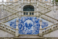 Religious scene in blue azulejos at the Remedios stairs in Lameg Stock Photo
