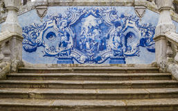 Religious scene in blue azulejos at the Remedios stairs in Lameg Stock Photos