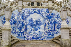 Religious scene in blue azulejos at the Remedios stairs in Lameg Stock Photography