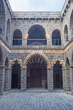 The religious school. The arched portico of the Mesudiye Madrasa with traditional stone decoration named cis, Diyarbakir, Turkey Stock Photography