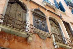 Religious Sculpture on Old Building,  Venice, Italy Stock Photos