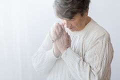 Religious senior person praying Royalty Free Stock Images