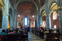 Religious service in the church of Sacra di San Michele royalty free stock photography
