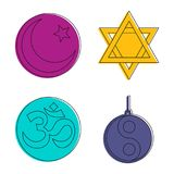 Religious sign icon set, color outline style. Religious sign icon set. Color outline set of religious sign vector icons for web design isolated on white Stock Photos