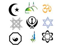 Religious sign with white background Stock Photos