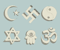 Religious signs doodle vector Royalty Free Stock Images