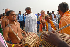 Religious Song. Hindu devotees sang a religious song -Hare Rama Hare Krishnaat the fair ground of Ganga sagar.This festival is celebrated during mid January stock photos