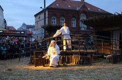 Live Nativity Scene in Zagreb Royalty Free Stock Photo