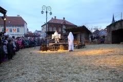 Live Nativity Scene in Zagreb Royalty Free Stock Image