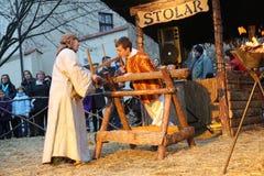 Live Nativity Scene in Zagreb Royalty Free Stock Photography