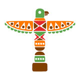 Religious Spiritual Totem With Eagle, Native Indian Culture Inspired Boho Ethnic Style Print stock illustration