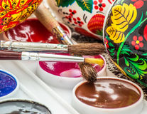 Religious easter egg painted watercolor Royalty Free Stock Photos