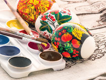 Religious easter egg painted watercolor Stock Photo