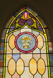 Religious stain glass window. Stained glass window with the Christian words I am the bread of life Royalty Free Stock Images