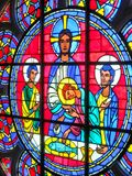 Religious Stain glass window: St John the Divine Cathedral. This is one of the many stain glass windows at St John the Divine Cathedral in NYC Stock Photo