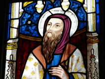 Religious stained glass window. Colorful stained glass window of Jesus Christ in church Royalty Free Stock Image