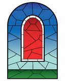 Religious stained glass window royalty free illustration