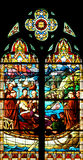 Religious Stained-glass Window. Church Stained-glass Window with religious scenes stock photo