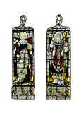 Religious stained glass windows,. Religious stain glass windows with two panels, on a white background Stock Image